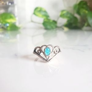 Chipped Turquoise Inlay Heart Silver Tone Ring